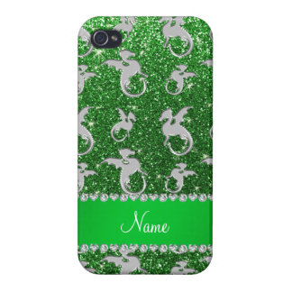Personalized name silver dragons green glitter cover for iPhone 4
