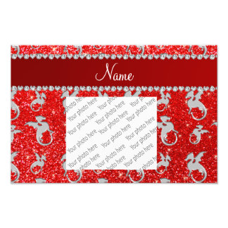 Personalized name silver dragons neon red glitter photo print