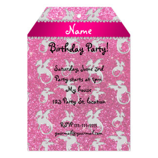Personalized name silver dragons pink glitter 5x7 paper invitation card