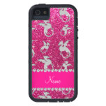 Personalized name silver dragons pink glitter iPhone 5 cover