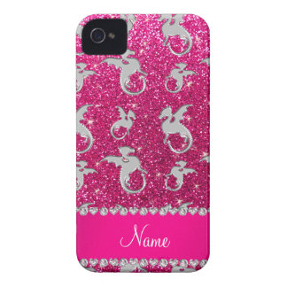 Personalized name silver dragons pink glitter Case-Mate iPhone 4 case