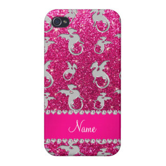 Personalized name silver dragons pink glitter iPhone 4/4S cases