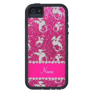 Personalized name silver dragons pink glitter iPhone SE/5/5s case