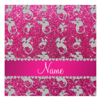 Personalized name silver dragons pink glitter panel wall art