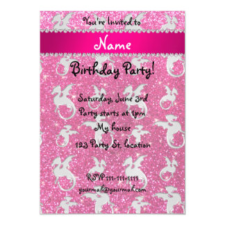 Personalized name silver dragons pink glitter magnetic invitations