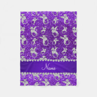 Personalized name silver dragons purple glitter fleece blanket
