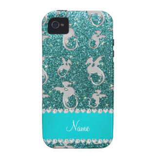 Personalized name silver dragons turquoise glitter iPhone 4 covers