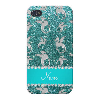 Personalized name silver dragons turquoise glitter iPhone 4 cases