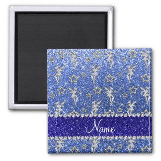 Personalized name silver fairy gold stars blue gli 2 inch square magnet