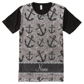 Personalized name silver glitter anchors All-Over print t-shirt