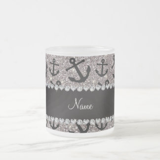 Personalized name silver glitter anchors frosted glass coffee mug