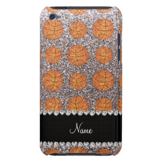 Personalized name silver glitter basketballs iPod touch cover
