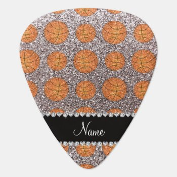 Personalized Name Silver Glitter Basketballs Guitar Pick by Brothergravydesigns at Zazzle