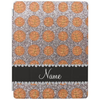 Personalized name silver glitter basketballs iPad cover