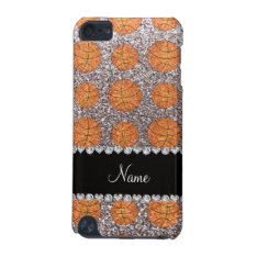 Personalized Name Silver Glitter Basketballs Ipod Touch (5th Generation) Case at Zazzle