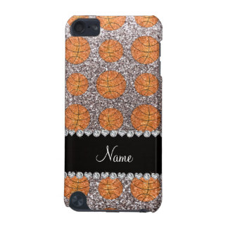 Personalized name silver glitter basketballs iPod touch (5th generation) case