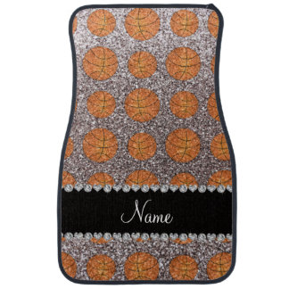 Personalized name silver glitter basketballs car mat