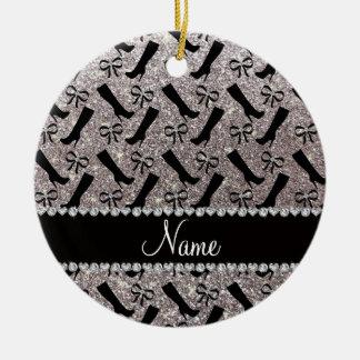 Personalized name silver glitter boots bows ceramic ornament