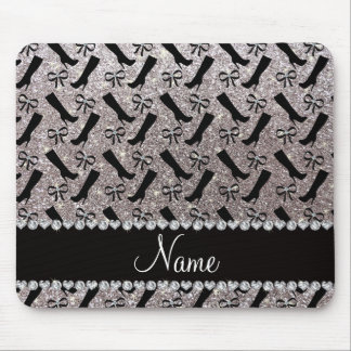 Personalized name silver glitter boots bows mouse pad