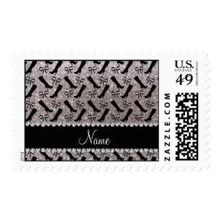 Personalized name silver glitter boots bows postage