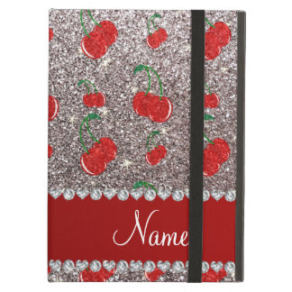 Personalized name silver glitter cherries iPad air cover
