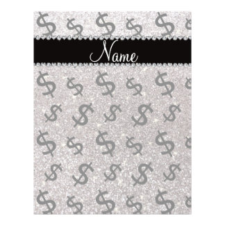 """Personalized name silver glitter dollar signs 8.5"""" x 11"""" flyer"""