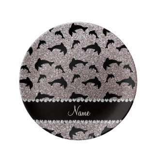 Personalized name silver glitter dolphins porcelain plate