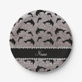 Personalized name silver glitter dolphins 7 inch paper plate