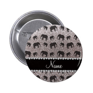 Personalized name silver glitter elephants pinback button