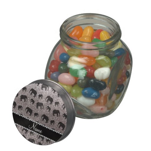 Personalized name silver glitter elephants jelly belly candy jar