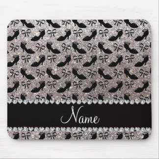 Personalized name silver glitter fancy shoes bows mouse pad