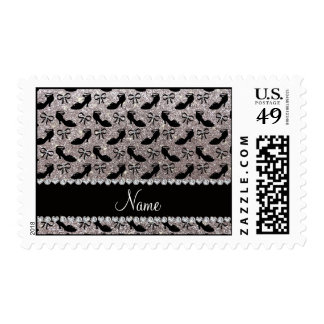 Personalized name silver glitter fancy shoes bows postage
