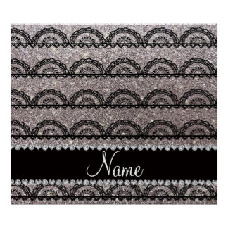 Personalized name silver glitter lace poster