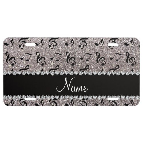 Personalized name silver glitter music notes license plate