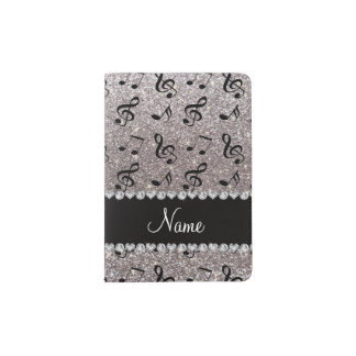 Personalized name silver glitter music notes passport holder