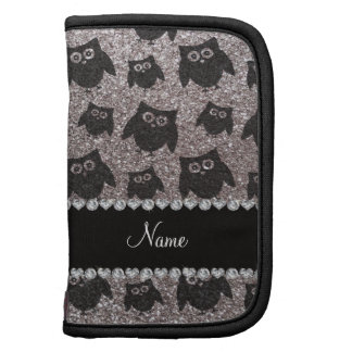 Personalized name silver glitter owls folio planners