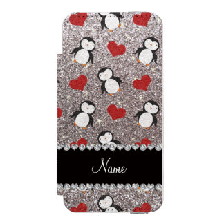 Personalized name silver glitter penguins hearts wallet case for iPhone SE/5/5s