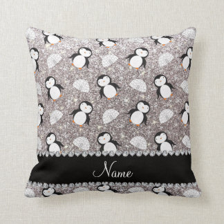 Personalized name silver glitter penguins igloos throw pillow