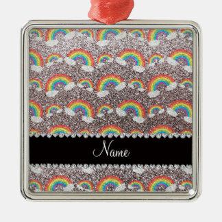 Personalized name silver glitter rainbows ornament