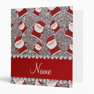 Personalized name silver glitter santas vinyl binders