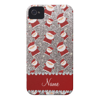 Personalized name silver glitter santas iPhone 4 cases