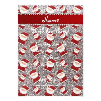 Personalized name silver glitter santas 5x7 paper invitation card