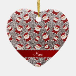 Personalized name silver glitter santas christmas ornament
