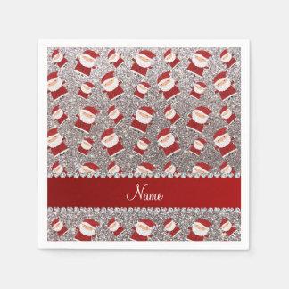 Personalized name silver glitter santas paper napkins