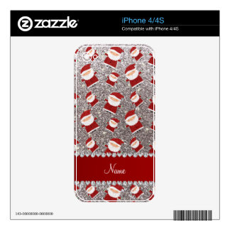 Personalized name silver glitter santas skin for iPhone 4