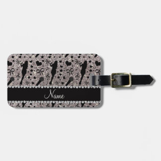 Personalized name silver glitter singer travel bag tags