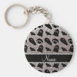 Personalized name silver glitter vampire basic round button keychain