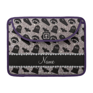 Personalized name silver glitter vampire MacBook pro sleeves