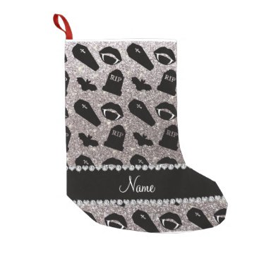 Halloween Themed Personalized name silver glitter vampire small christmas stocking