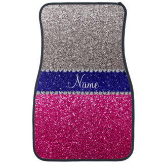 Personalized name silver hot pink glitter car mat
